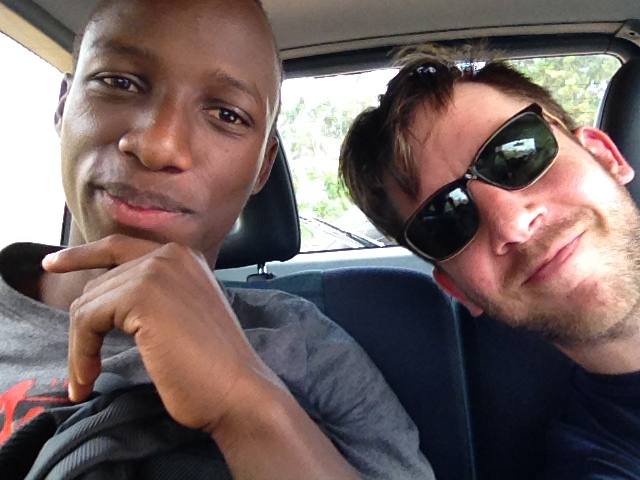 Gerard and Gerrit driving in Kigali